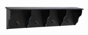 Lightweight & Compact Wood Wall Shelf with Hooks in Dark color Brand Woodland
