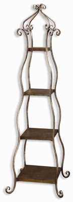 Lilah Silver Leaf Etageres Bookshelf Stand With Champagne Patina Brand Uttermost