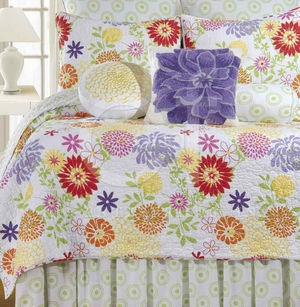 Lilly Cotton Twin Size Quilt with Cotton Fill Brand C&F