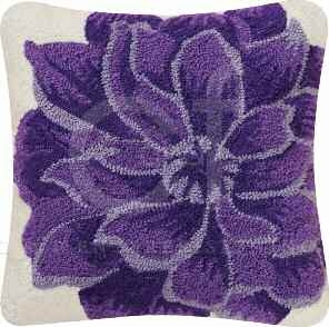 Lilly Hooked Flower Pillow 18 x18 Inches Brand C&F