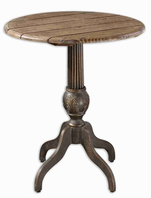 Lina Round Accent Table Painted With Bronze and Fir Wood Brand Uttermost