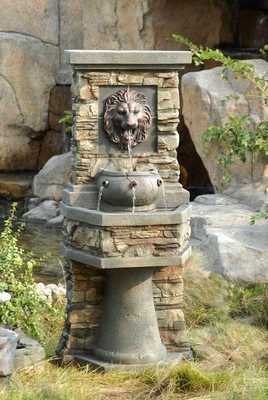 Lion Head Outdoor/Indoor Water Fountain with Natural Stone Finish Brand Zest