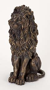 Lion Solid Cold Cast Resin Statue Sculpture in Bronze Finish Brand Woodland
