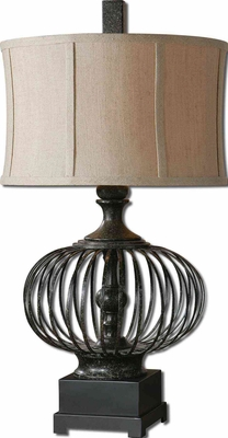 Lipioni Metal Cage Lamp with Foot in Black Finish Brand Uttermost