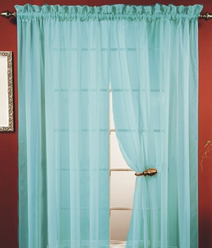 "Lisa Aqua Sheer Curtains 55"" Wide X 84"" Long � To Add Nautical Decor Brand Kashi"