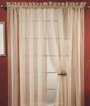 "Lisa Beige Sheer Curtains 55"" Wide X 84"" Long- Anytime Furnishing Brand Kashi"