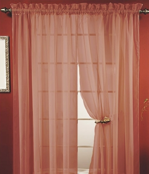 "Lisa Burgundy Sheer Curtains 55"" Wide X 84"" Long- Feel Warmth Brand Kashi"