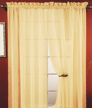 "Lisa Gold Sheer Curtains 55"" W X 84"" Long: For Exciting & Glamorous Decor Brand Kashi"