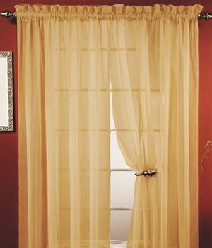 "Lisa Taupe Sheer Curtains 55"" Wide X 84"" Long- Feel Closed To Nature Brand Kashi"