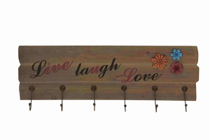 Live Laugh Love Wood Metal Wall Hook Brand Benzara