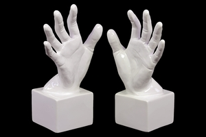 Lively Ceramic Polished White Hand Bookend by Urban Trends Collection