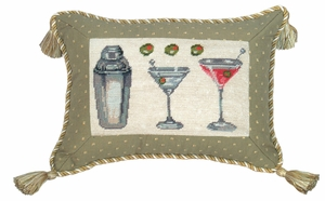 Lively Martini Petit Point Pillow by 123 Creations