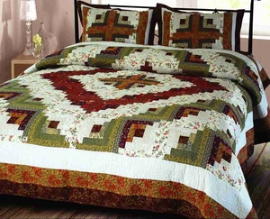 "Log Cabin Quilt Luxury Oversize King Handmade Bedding Ensembles 118 X 102"" Brand Elegant Decor"