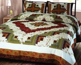 "Log Cabin Quilt King Handmade Bedding Ensembles 106"" x 96"" Brand Elegant Decor"