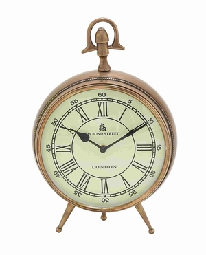London Bond Street Brass Antiqued Clock Piece Brand Benzara