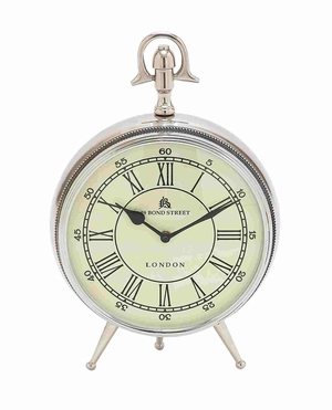 London Bond Street Silver Antiqued Clock Piece Brand Benzara