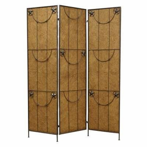 Lone Star 3 Panel Western Screen with Artistic Detailing Brand Screen Gem