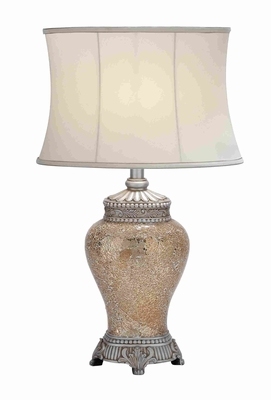 "Long Lasting Polished Stone Mosaic 30"" Table Lamp in White Shade Brand Woodland"