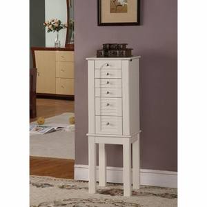 Long Lasting Winnipeg 5 Drawer Jewelry Armoire in White Brand Nathan