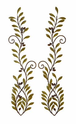 Long Leaf Branches Metal Wall Deco Sculpture - Set of 2 Brand Woodland