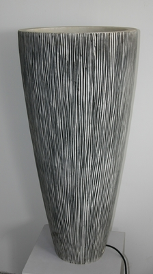 Long Sandstone Conical Planter with Light in Ribbed Finish Brand Screen Gem
