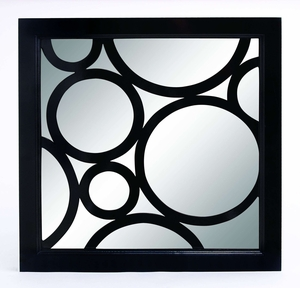 Looking Glass - Modern Mirror With Black Circle Frame Patterns Brand Woodland