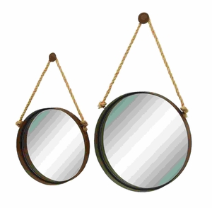 Looking Glass - Ocean Porthole Mirror Set With Hanging Rope Brand Woodland