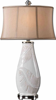 Lorida White Table Lamp with Raw Ceramic Undertones Brand Uttermost