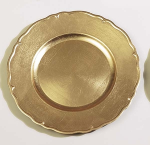 """Lot / 36 Reflection Gold Charger Plates 13"""" Dia Brand Woodland"""