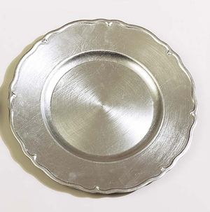 "Lot / 36 Tuscany Silver Charger Plates 13"" Dia Brand Woodland"