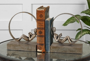Lounging Reader Bookends Set/2, Bookends with Silver Leaf Finish Brand Uttermost