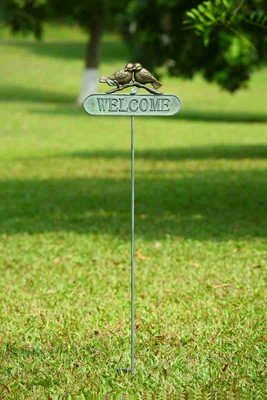 Lovebirds Welcome Sign With Romantic Birds Sharing Love Kiss Brand SPI-HOME