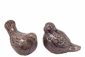Lovely & Adorable Ceramic Bird Set of Two in Purple