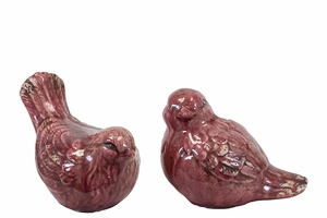 Lovely & Adorable Ceramic Birds Set of Two in Red