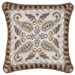 "Lovely and Intricate Paisley Needlepoint Pillow 18x18"" by 123 Creations"