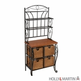Lovely Black Metallic Baker's Rack with Four Rattan Baskets by Southern Enterprises
