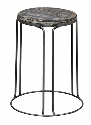 Lovely Black Round Geary Metallic Stool
