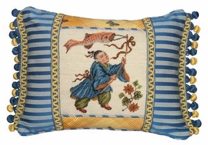 Lovely Boy With Kite Petit-Point Pillow by 123 Creations
