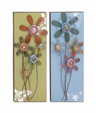 Lovely Floral Themed Assorted Set of Two Wall Panel by Woodland Import
