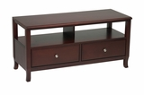 Lovely Merlot Wooden TV Stand with Two Drawers by Office Star