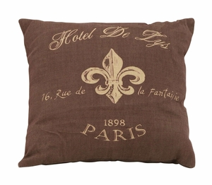Lovely Paris Hotel Themed Pillow With Brown And Tan Fabric Brand Woodland
