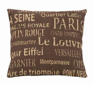Lovely Paris Themed Pillow With Tourist Destinations Brand Woodland