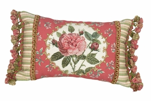 Lovely Rose - Pink Border Petit-Point Pillow by 123 Creations