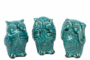 Lovely Sassy Styled Ceramic Owl Set of Three
