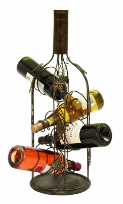 Wine Bottle Shaped Wine Rack Stand With 4 Slots - 55978 by Benzara
