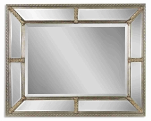 Lucinda Antique Wall Mirror with 9 Beveled Mirror Frame Brand Uttermost