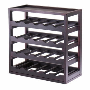 Winsome Wood Lustrous Wooden Kingston 20 Bottle Stackable Removable Tray Wine Cube