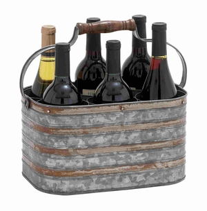 Rustic Metal Galvanize Six Bottle Holder - 38195 by Benzara