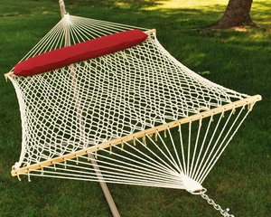 Luxurious 13' Cotton Rope Hammock w/ Hanging Hardware and Pillow by Alogma