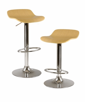 Luxurious & Rich Kallie Set of 2 Airlifts Adjustable Stool by Winsome Woods